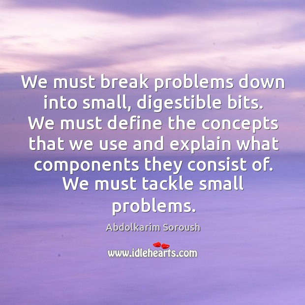 We must break problems down into small, digestible bits. We must define the concepts that we Abdolkarim Soroush Picture Quote