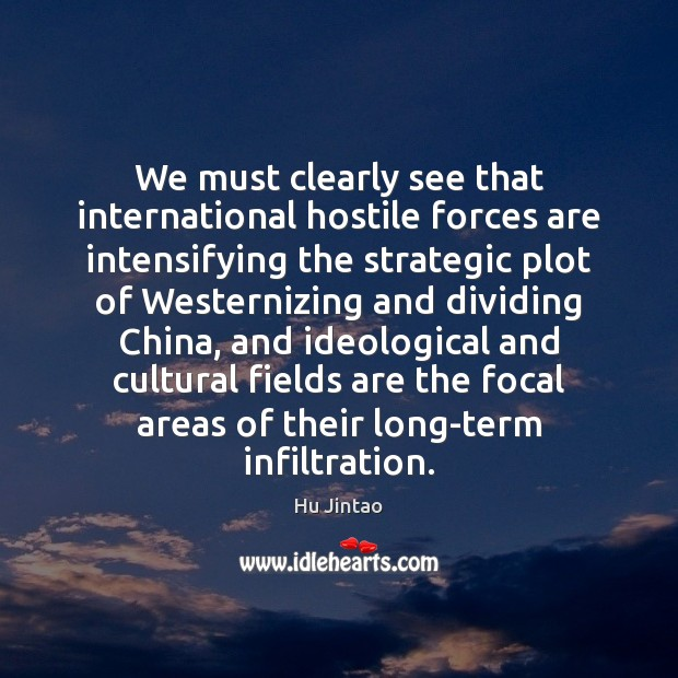 We must clearly see that international hostile forces are intensifying the strategic Image