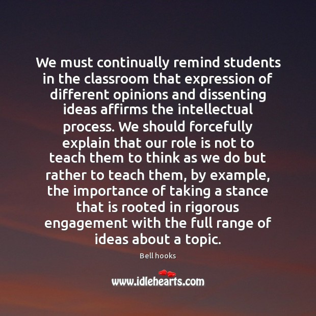 We must continually remind students in the classroom that expression of different Image