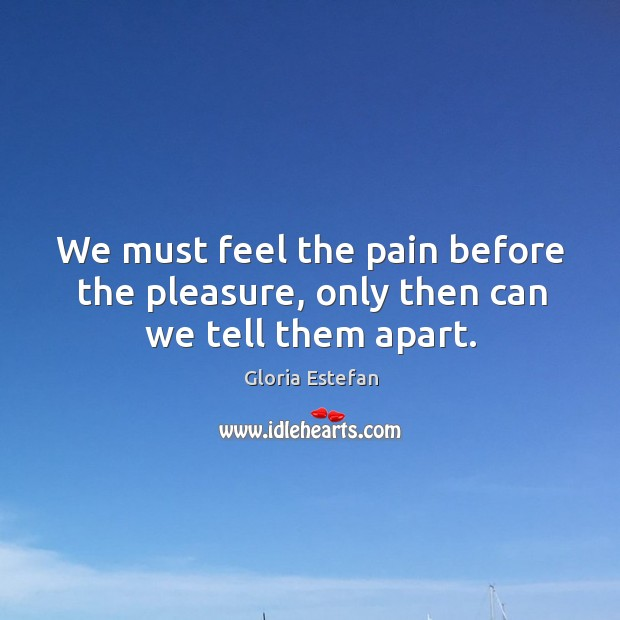 We must feel the pain before the pleasure, only then can we tell them apart. Image
