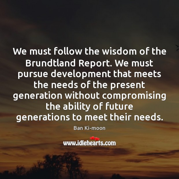 We must follow the wisdom of the Brundtland Report. We must pursue Image