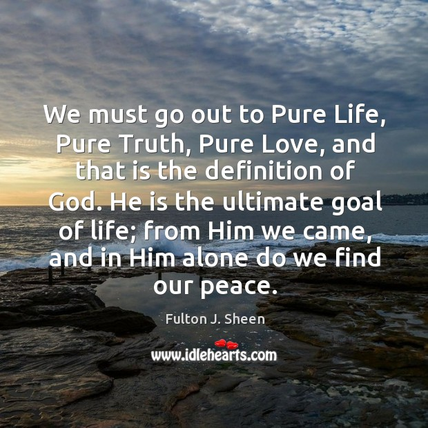 We must go out to Pure Life, Pure Truth, Pure Love, and Image