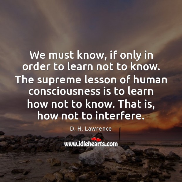 We must know, if only in order to learn not to know. Image