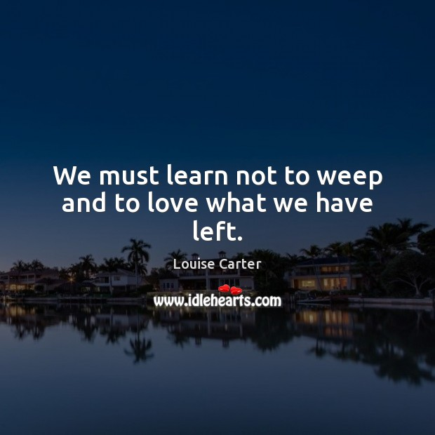 We must learn not to weep and to love what we have left. Image