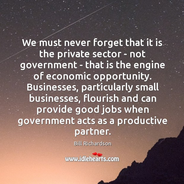 We must never forget that it is the private sector – not Bill Richardson Picture Quote