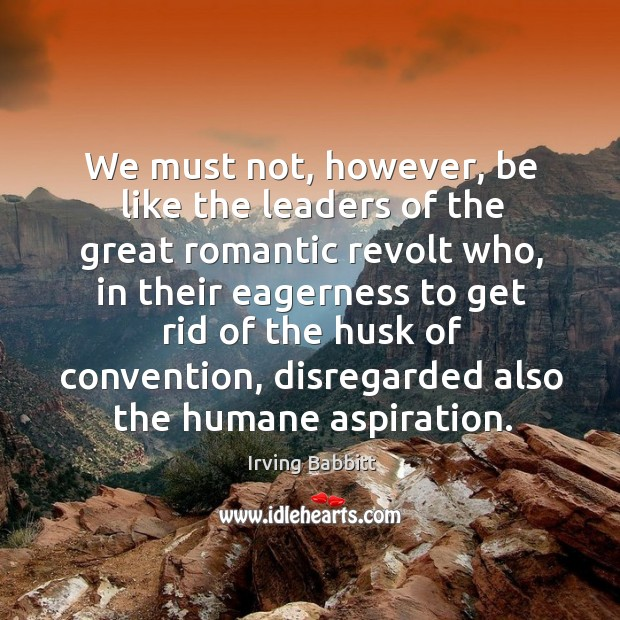 We must not, however, be like the leaders of the great romantic revolt who, in their Irving Babbitt Picture Quote