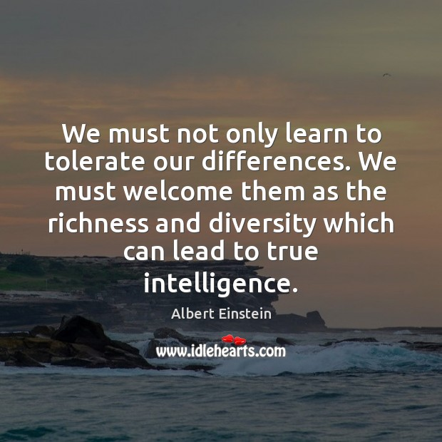 Image, We must not only learn to tolerate our differences. We must welcome