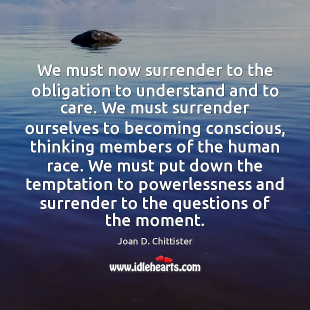 Image, We must now surrender to the obligation to understand and to care.