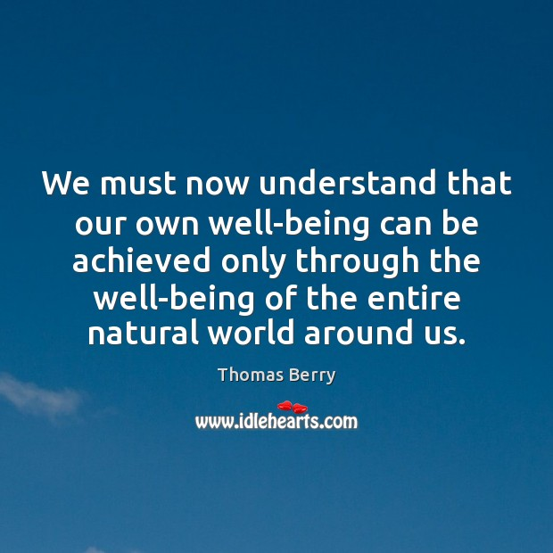 We must now understand that our own well-being can be achieved only Thomas Berry Picture Quote