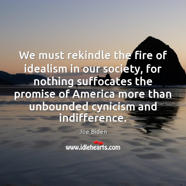 We must rekindle the fire of idealism in our society, for nothing Joe Biden Picture Quote