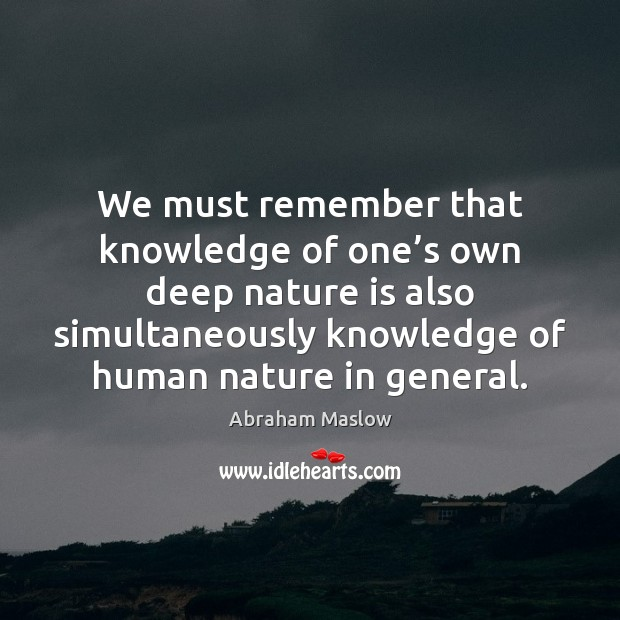 Image, We must remember that knowledge of one's own deep nature is