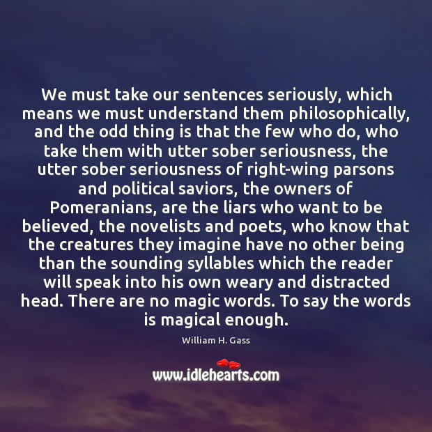 We must take our sentences seriously, which means we must understand them Image