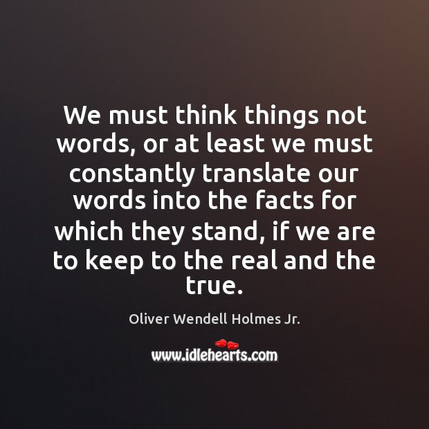 We must think things not words, or at least we must constantly Oliver Wendell Holmes Jr. Picture Quote
