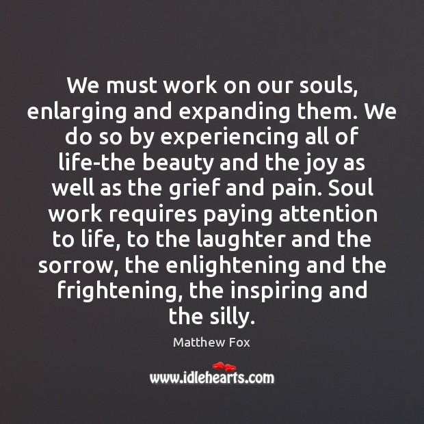 We must work on our souls, enlarging and expanding them. We do Matthew Fox Picture Quote