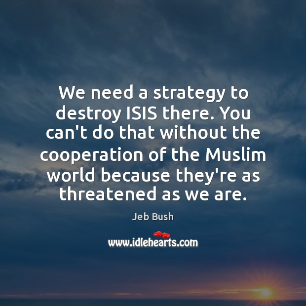 We need a strategy to destroy ISIS there. You can't do that Image
