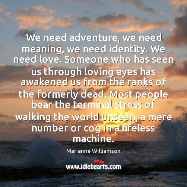 Image, We need adventure, we need meaning, we need identity. We need love.