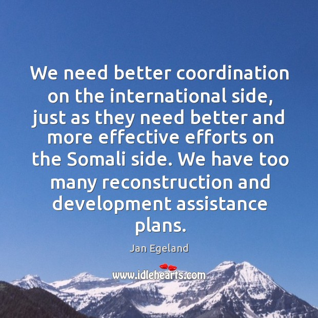 We need better coordination on the international side, just as they need better and more Jan Egeland Picture Quote