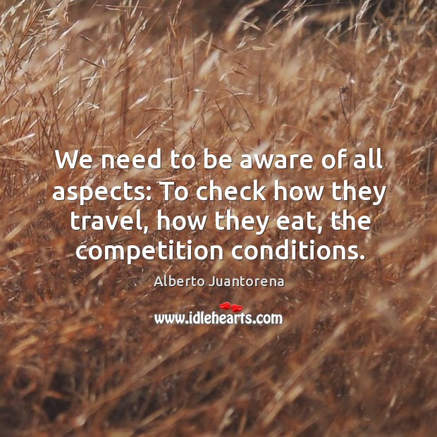 Image, We need to be aware of all aspects: to check how they travel, how they eat, the competition conditions.