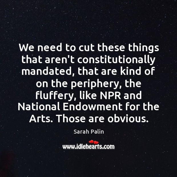 We need to cut these things that aren't constitutionally mandated, that are Sarah Palin Picture Quote
