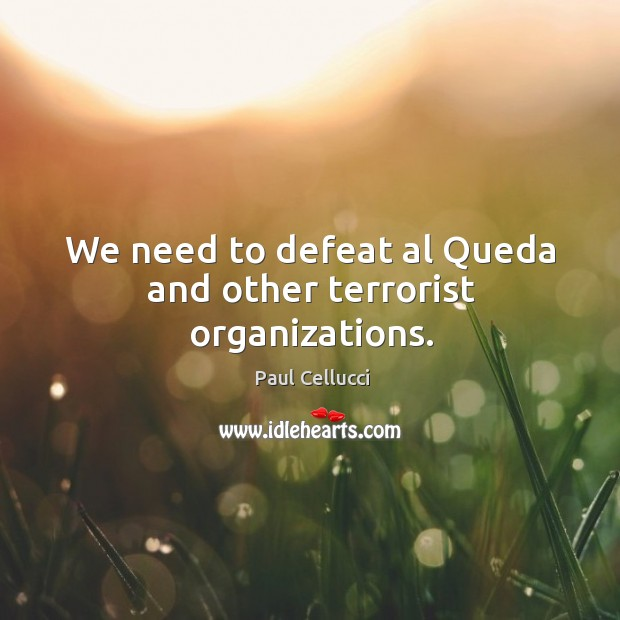 We need to defeat al queda and other terrorist organizations. Image