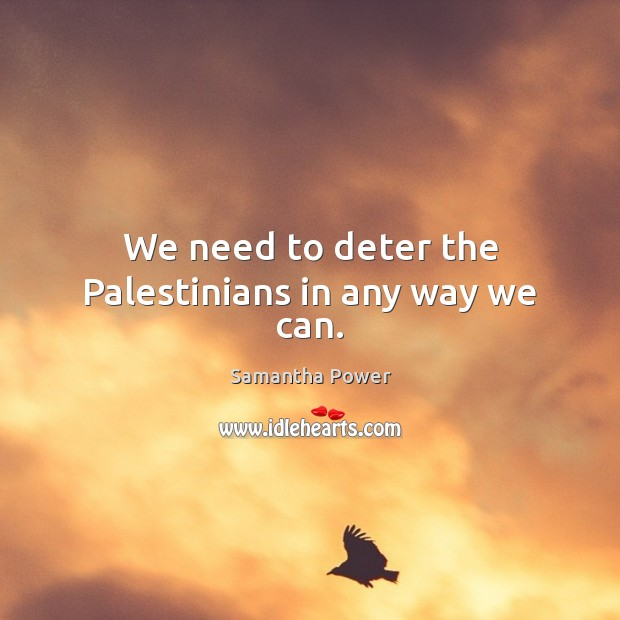 Image, We need to deter the Palestinians in any way we can.