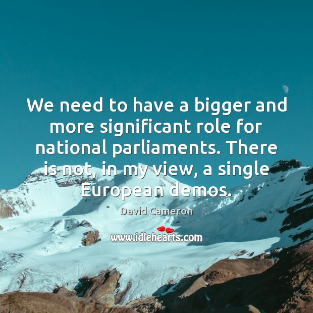 We need to have a bigger and more significant role for national David Cameron Picture Quote