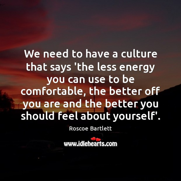 We need to have a culture that says 'the less energy you Image