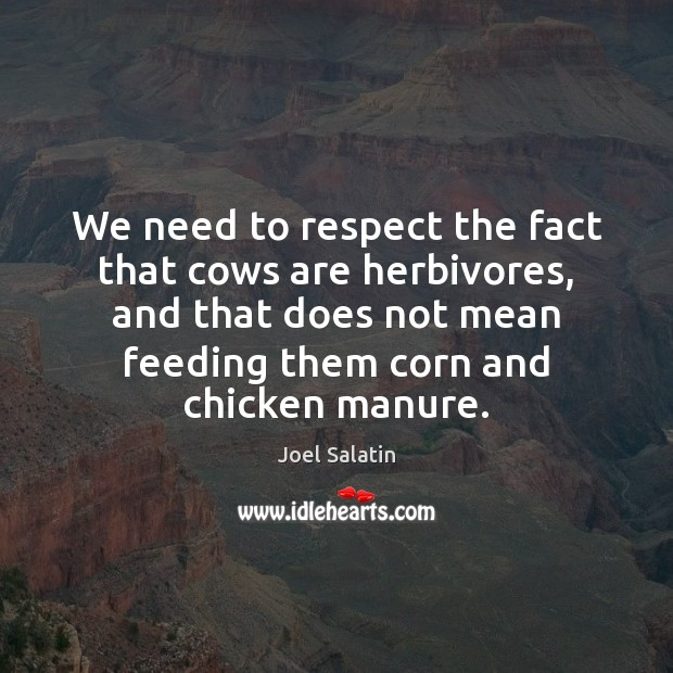 We need to respect the fact that cows are herbivores, and that Joel Salatin Picture Quote