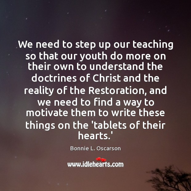 Image, We need to step up our teaching so that our youth do