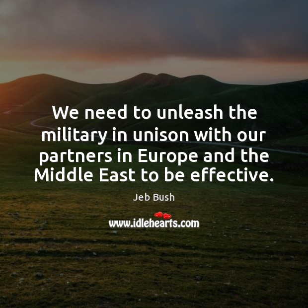 Image, We need to unleash the military in unison with our partners in