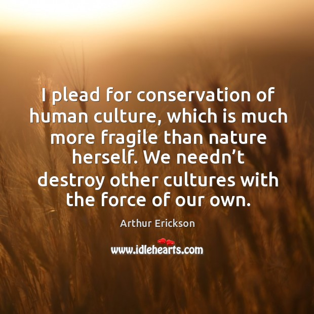 We needn't destroy other cultures with the force of our own. Image