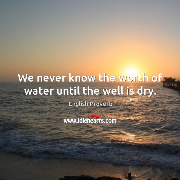 We never know the worth of water until the well is dry. Image