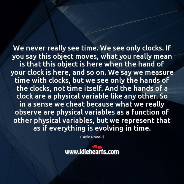 Image, We never really see time. We see only clocks. If you say