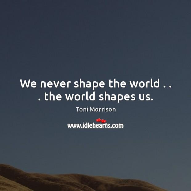 Image, We never shape the world . . . the world shapes us.