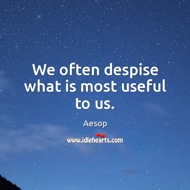 Image, We often despise what is most useful to us.