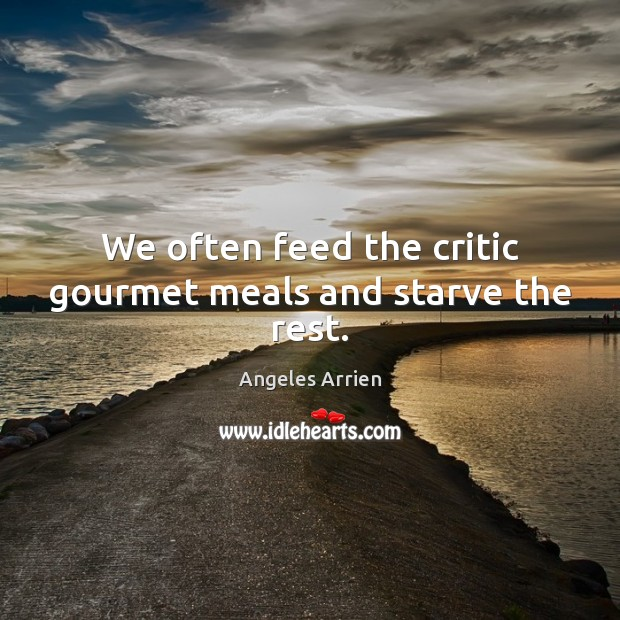 Image, We often feed the critic gourmet meals and starve the rest.