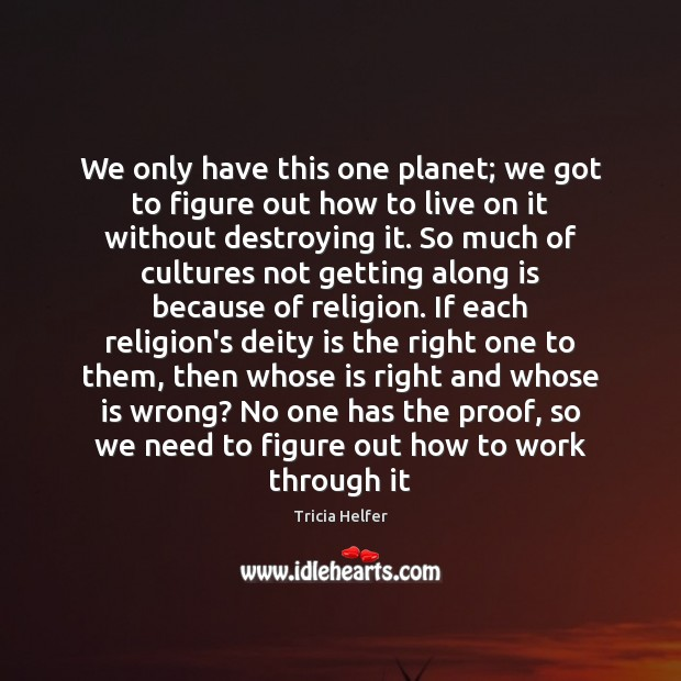 We only have this one planet; we got to figure out how Tricia Helfer Picture Quote
