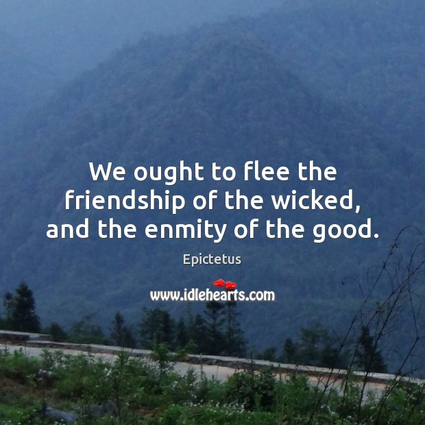 Image, We ought to flee the friendship of the wicked, and the enmity of the good.