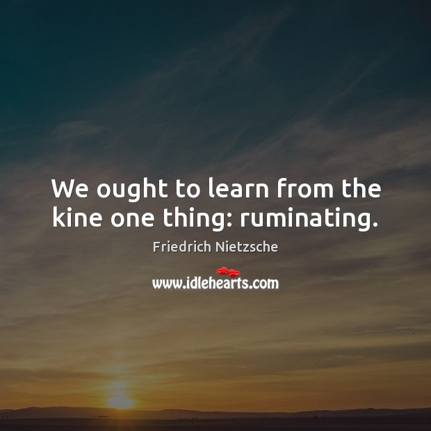 Image, We ought to learn from the kine one thing: ruminating.