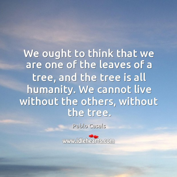 Image, We ought to think that we are one of the leaves of a tree, and the tree is all humanity.