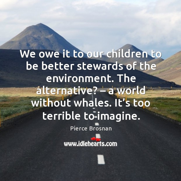 Image, We owe it to our children to be better stewards of the environment. The alternative? – a world without whales.
