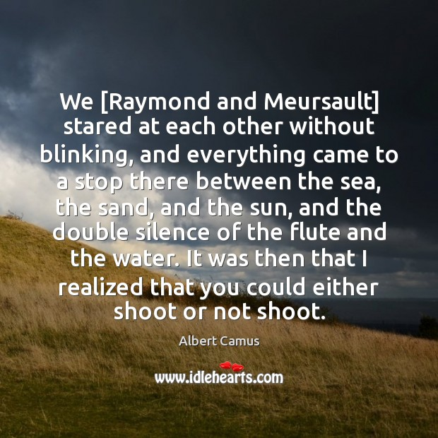 We [Raymond and Meursault] stared at each other without blinking, and everything Image