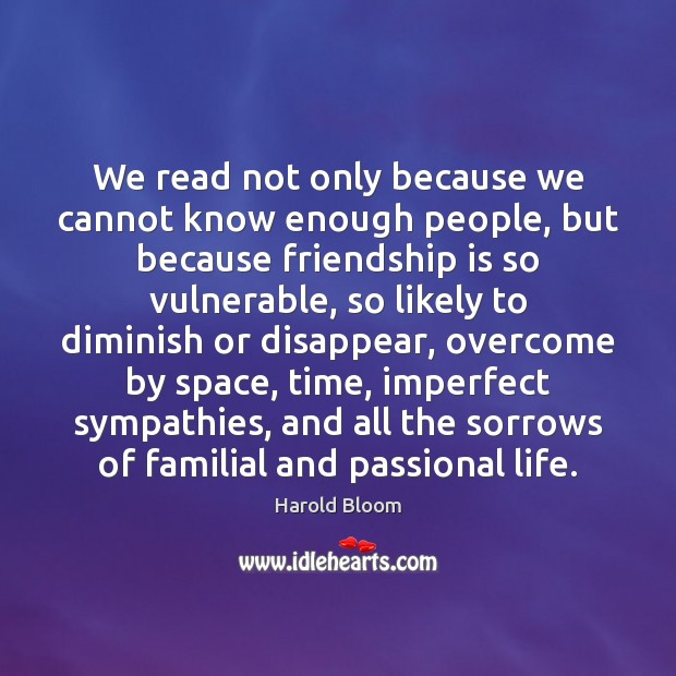 We read not only because we cannot know enough people, but because Harold Bloom Picture Quote