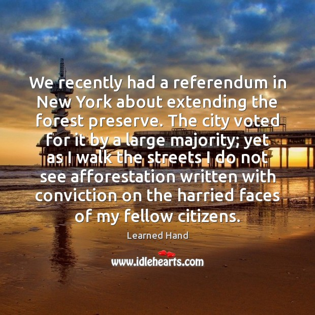 We recently had a referendum in New York about extending the forest Learned Hand Picture Quote