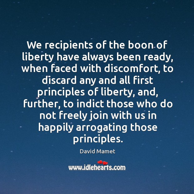 We recipients of the boon of liberty have always been ready, when Image