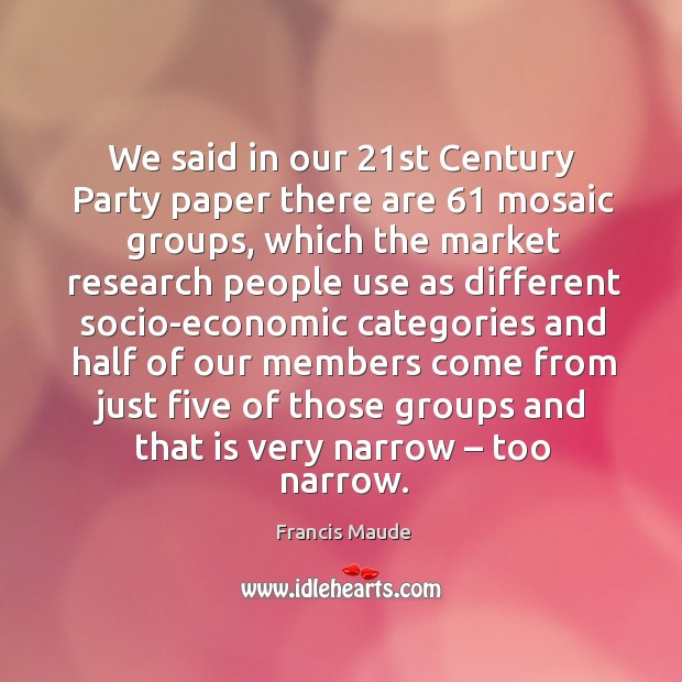 We said in our 21st century party paper there are 61 mosaic groups, which the market research Image