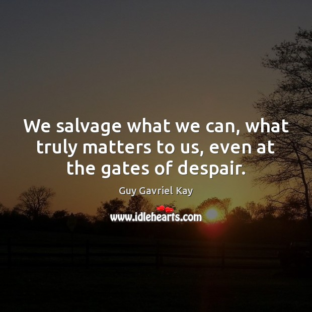 We salvage what we can, what truly matters to us, even at the gates of despair. Guy Gavriel Kay Picture Quote