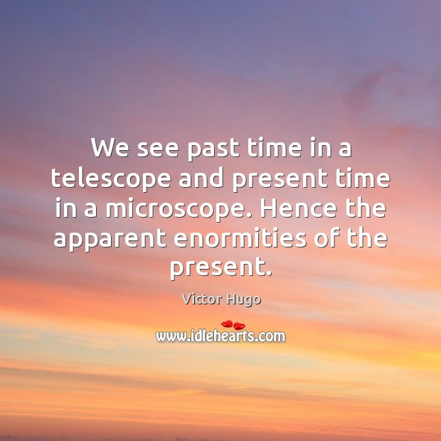 We see past time in a telescope and present time in a Image