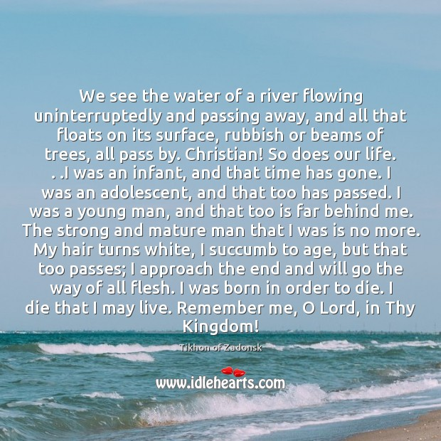Image, We see the water of a river flowing uninterruptedly and passing away,