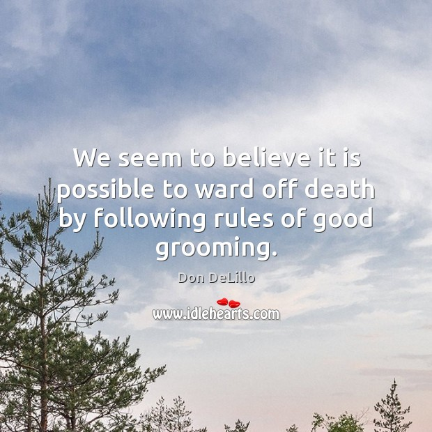 We seem to believe it is possible to ward off death by following rules of good grooming. Don DeLillo Picture Quote
